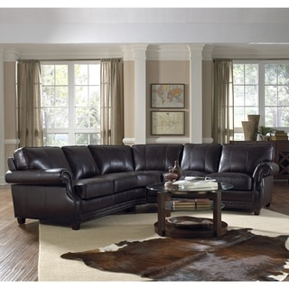 Lazzaro Leather Anna Top Grain Burgundy Sectional Sofa