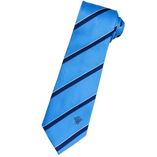 Versace 100-percent Italian Silk Sky Blue/ Navy Stripe Neck Tie