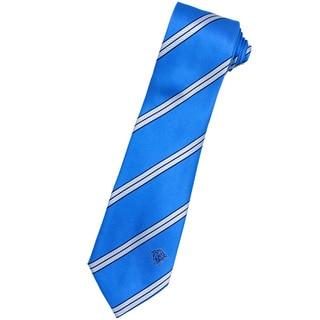 Versace 100-percent Italian Silk Sky Blue/ White Stripe Neck Tie