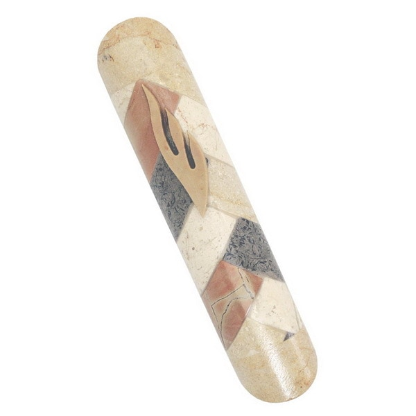Multi Color Mosaic Jerusalem Stone Mezuzah
