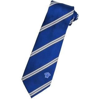 Versace 100-percent Italian Silk Blue/ White Stripe Neck Tie