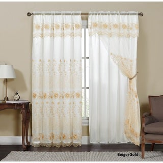 VCNY Silvia Embroidered Curtain Panel with Attached Valance and Backing