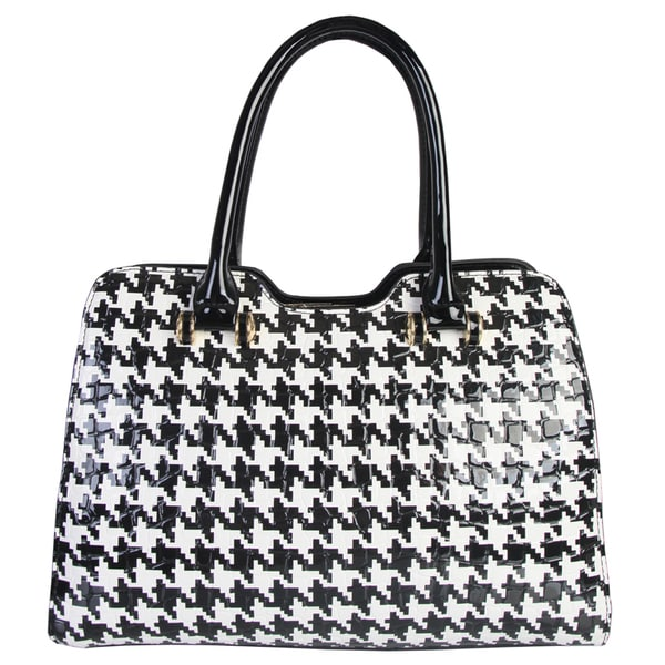 Rimen and Co. Shiny Patent Faux Leather Hounds Tooth Pattern Tote