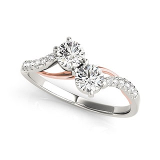 Auriya 14k Two-Tone Gold 3/4ct TDW Round-Cut Diamond 2-Stone Ring (H-I, SI1-SI2)