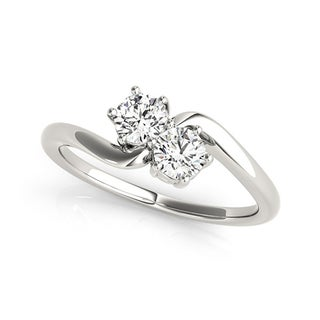 Auriya 14k White Gold 1/2ct TDW Round-Cut Diamond 2-Stone Ring (H-I, SI1-SI2)