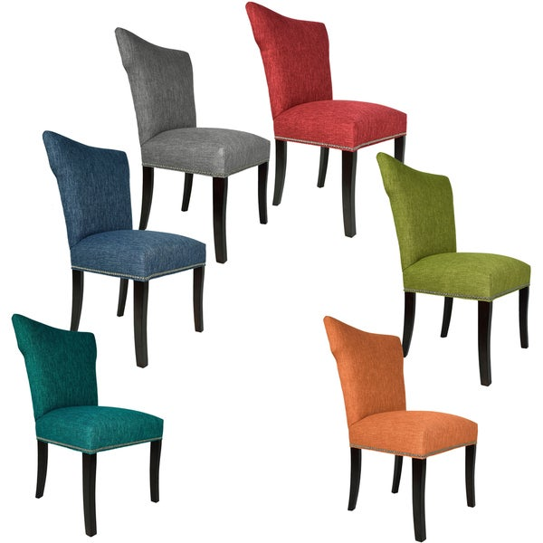 SOLE DESIGNS - BELLA Key Largo Spring Seating Double Dow Wing Back Nail Trim Edging Upholstered Dining Chairs (Set of 2)