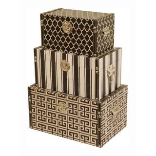 Wald Imports Durable Hardwood Decorative Trunks - Set of 3, Black & White