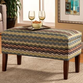 Maroma Blue/ Green Patterned Storage Ottoman Bench