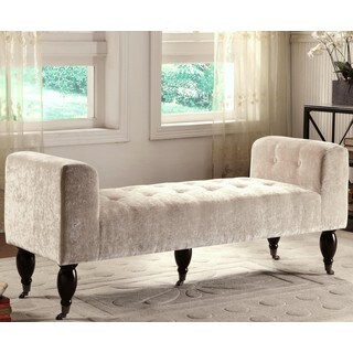 Holland Elegant Living Room Button Tufted Accent Bench with Casters