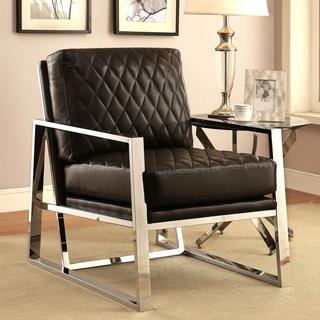 Eclipse Mid Century Modern Black Chrome Bold Design Accent Chair