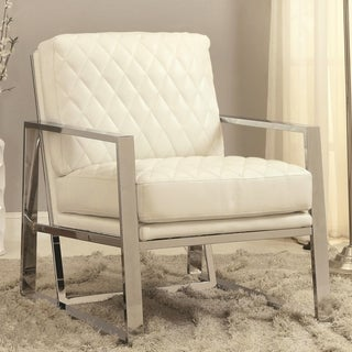 Eclipse Cream/ White Mid Century Modern Chrome Bold Design Accent Chair
