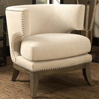 Luxenberg Mid Century Modern Barrel Back Design Soft Cream/ White Accent Chair with Nailhead Trim