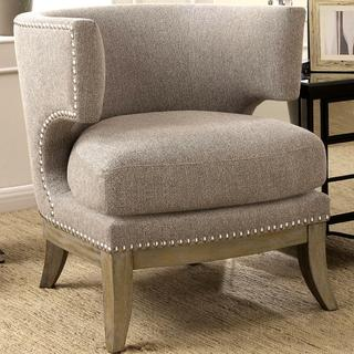 Luxenberg Mid Century Modern Barrel Back Design Grey Accent Chair with Nailhead Trim