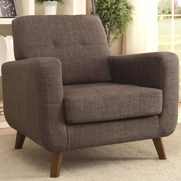 Marina Mid-century Design Grey Upholstered Accent Chair