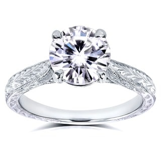 Annello 14k White Gold Forever One 1 1/2ct TGW Moissanite and Diamond Antique Cathedral Engagement Ring (G-H, I1-I2)