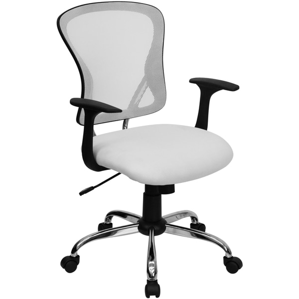 Posey White Mesh Back Adjustable Swivel Office Arm Chair with Chrome Base