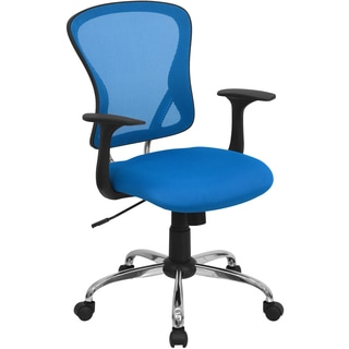 Posey Blue Mesh Back Adjustable Swivel Office Arm Chair with Chrome Base