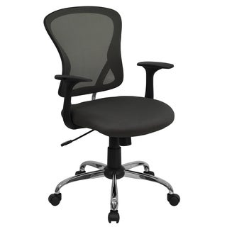 Posey Dark Grey Mesh Back Adjustable Swivel Office Arm Chair with Chrome Base