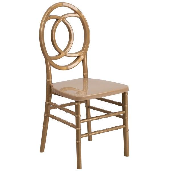 Davis Interlocking Design Resin Ballroom Gold Chairs