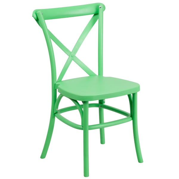 Saber Bistro Resin Cross Back Design Green Stack Dining Chairs