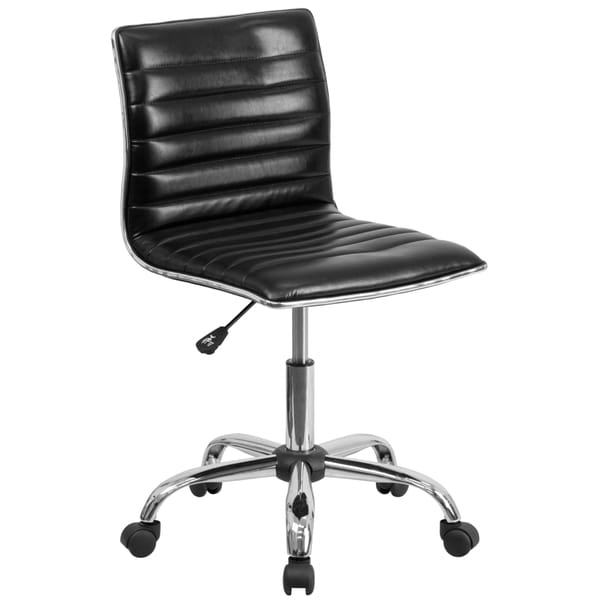 Admire Armless Black Ribbed Adjustable Swivel Conference/ Office Chair 17224111