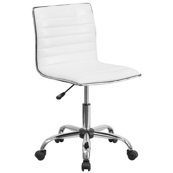 Admire Armless White Ribbed Adjustable Swivel Conference/ Office Chair 17224112