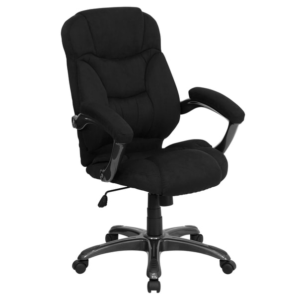 Madrid Executive Black Microfiber Adjustable Swivel Office Chair with Padded Arms