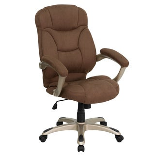 Malaga Executive Brown Microfiber Adjustable Swivel Office Chair with Padded Arms