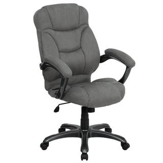 Madrid Executive Grey Microfiber Adjustable Swivel Office Chair with Padded Arms