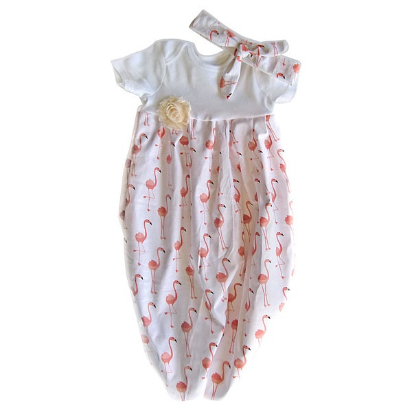 Baby Girl Peach Flamingos Layette Set