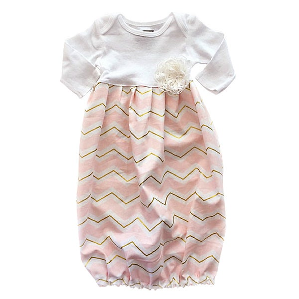 Baby Girl Pink/ Gold Chevron Layette Set
