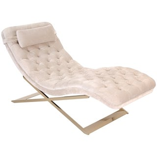 Safavieh Couture Collection Nampa Pine Cream Velvet Chaise