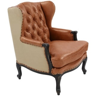 Safavieh Couture Collection Ashland Oak Chair Light Brown/ Sand Leather Arm Chair