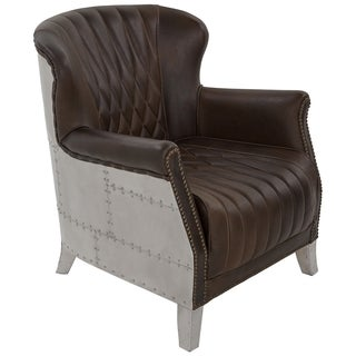 Safavieh Couture Collection Bocardo Oak Midnight Brown Leather Arm Chair