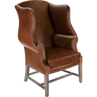 Safavieh Couture Collection Fay Oak Brown/ Coffee Leather Wing Chair