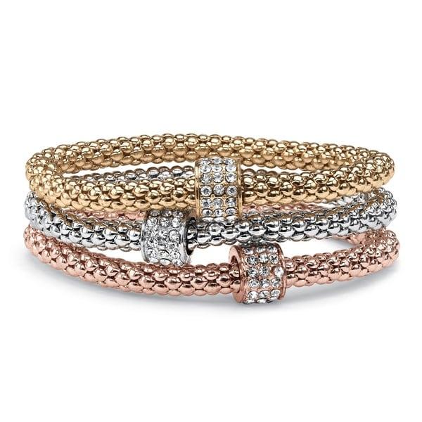PalmBeach Tri-color Gold Crystal Beaded Stretch Rope Bracelet Set
