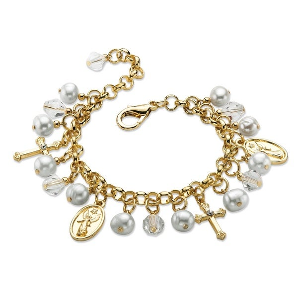 PalmBeach Goldtone Round Simulated Pearl and Crystal Religious Charm Bracelet