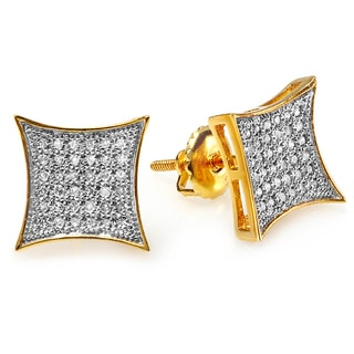 18k Yellow Goldplated Silver 1/5ct TDW Diamond Stud Earrings (I-J ,I2-I3)