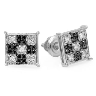Sterling Silver 1/6ct TDW Black and White Diamond Square Stud Earrings (I-J, I2-I3)