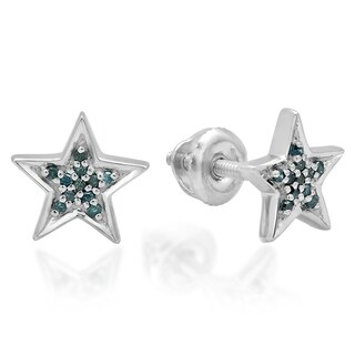 Sterling Silver 1/10ct TDW Blue Diamond Star Shape Fashion Stud Earrings
