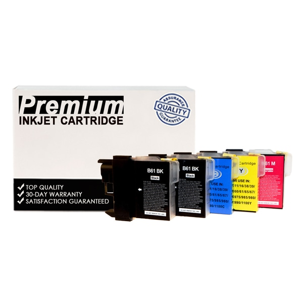 Compatible Set Brother LC61 KKCYM InkJet Cartridge (5-pack)