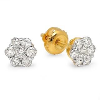 Yellow Goldplated Silver 1/2ct TDW Diamond Earrings (I-J, I2-I3)