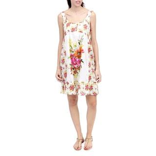 La Cera Women's Sleeveless Floral Printed Chemise