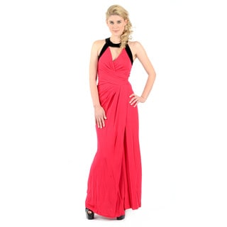 Halston Heritage Sleeveless V-Neck Faux Wrap Gown with Velvet Band Detail