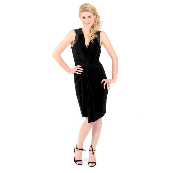 Halston Heritage Sleeveless V-Neck Dress with Front Drape