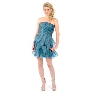 Halston Heritage Silk Printed Strapless Ruffles Dress