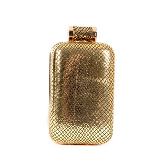 Halston Gold Leather Cell Phone Minaudiere