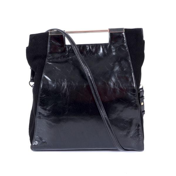 Halston Leather Foldover Tote