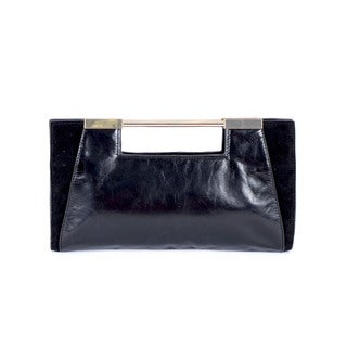 Halston Black Leather Clutch