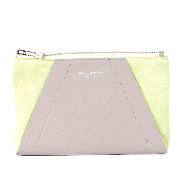 Halston Heritage Green Leather Colorblock Clutch